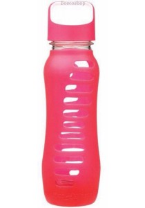 ECO VESSEL Recycled Glass Water Bottle Twist Off Lid (Raspberry Pink)