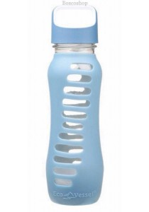 ECO VESSEL Recycled Glass Water Bottle Twist Off Lid (Storm Blue)