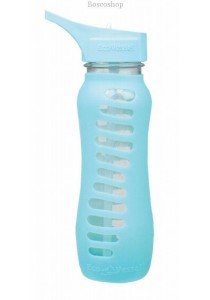 ECO VESSEL Recycled Glass Water Bottle Flip Straw Lid (Aqua Wave)