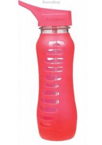ECO VESSEL Recycled Glass Water Bottle Flip Straw Lid (Raspberry Pink)