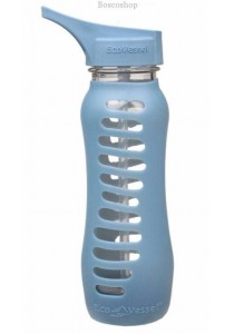 ECO VESSEL Recycled Glass Water Bottle Flip Straw Lid (Storm Blue)