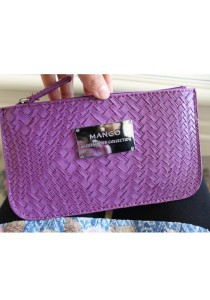 Mango PU Leather Woven Clutch - Purple