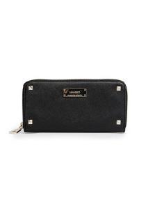 Mango Studded Saffiano Wallet - Black
