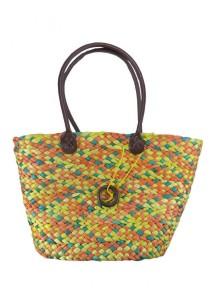Handmade Classical Multi Color Straw Shoulder Bag (Orange Mix)