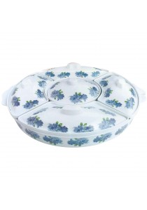 Hari Raya Melamine - 5 Sections Food Serving Platter Dish Tray + Dip Cup and Lids (40cm) Blue