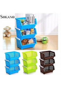 Bundle Set of 3: SOKANO KR001 Stackable and Space Saving Food Safety Storage Bin