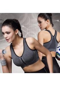 Sport Gym Zumba Yoga Zipper Bra Grey