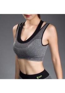 Dual-layered wide band sport gym yoga Bra Grey (M)