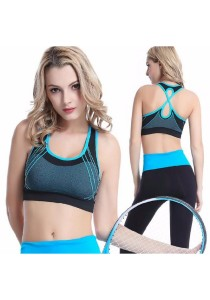 Candy Colors Crossback Sports Gym Yoga Bra Blue