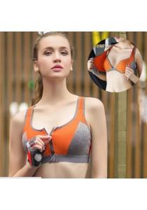 Front Close Sport Yoga Zipper Bra Orange