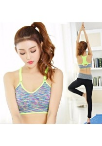 Candy Color Sport Gym Yoga Bra with Adjustable Strap Yellow