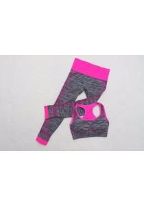 Racerback Sport Bra and Pants Set Pink