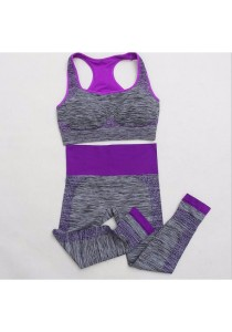 Racerback Sport Bra and Pants Set Purple