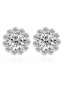 Platinum Plated Cubiz Zirconia Stud Earring - Silver (small)