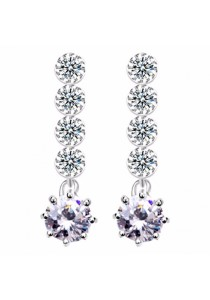 Platinum Plated Cubiz Zirconia Drop Earring