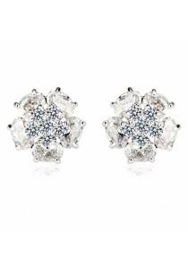 Platinum Plated Cubiz Zirconia Stud Earring - Silver (medium)