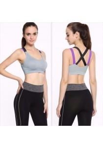 Cross Back Colorful Sport Gym Yoga Bra Grey