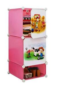 Tupper Cabinet 3 Cubes Pink Color DIY Cartoon(Story) Storage Cubes