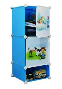 Tupper Cabinet 3 Cubes Sky Blue DIY Cartoon(Story) Storage Cubes