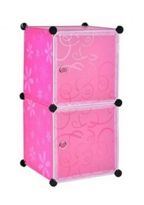 Tupper Cabinet 2 Cubes White Stripes Doors Pink Flower DIY Storage Organizer