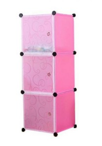 Tupper Cabinet 3 Cubes White Stripes Doors Pink Color DIY Storage Box