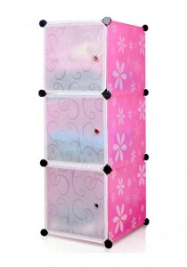 Tupper Cabinet 3 Cubes White Stripes Doors  Pink Flower DIY Storage Box