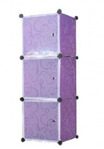 Tupper Cabinet 3 Cubes  White Stripes Doors Purple Stripes DIY Storage Box