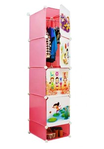 Tupper Cabinet 5 Cubes Pink Color DIY Cartoon (Story) Wardrobe With Shoe Rack