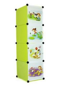 Tupper Cabinet 4 Cubes Straight Fruit Green Cartoon DIY Storage Cabinet
