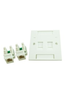 CAT5E / CAT-5E Double Faceplate With Keystone Jacks