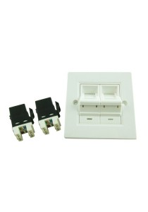 CAT6 / CAT-6 Double Faceplate With Shutters / Keystone Jacks