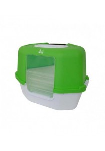 Cat Love Space Saver Corner Hooded Cat Pan - Green - 56 x 45 x 43.5 cm