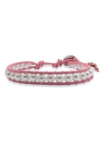 Caron Boutique Pearl Rosa Leather Wrap Bracelet