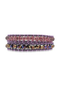 Caron Boutique Violette Crystals Leather Wrap Bracelet