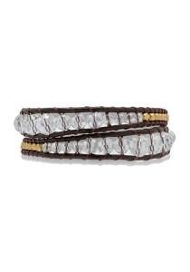 Caron Boutique Dunkel Brown Leather Wrap Bracelet