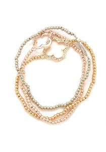 Caron Boutique Heart Charms Trio Tone Bracelet