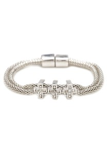Caron Boutique Cross Silver Mesh Bracelet