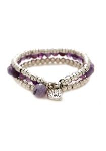Caron Boutique Silver Beads Expandable and Amethyst Stones Bracelet