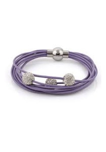 Caron Boutique Swarovski Crystal Spinners in Lilac Leather bracelet