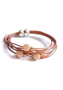 Caron Boutique Swarovski Crystal Spinners in Leather Bracelet