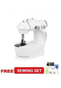 4-in-1 Mini Sewing Machine Grey + + Sewing Set