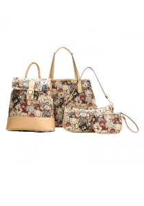 Momorain Classic Denim Embroidered Bag 4-piece Set (Brown)