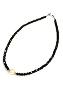 Classic Aimee Black Russian Crystal Necklace Crafted by Angie