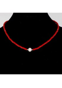 Classic Aimee Red Russian Crystal Necklace Crafted by Angie