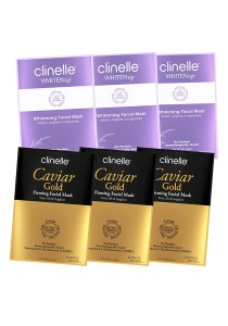 Clinelle [Official] CaviarGold Firming (3 Sheets) + WhitenUp Whitening Facial Mask (3 Sheets)