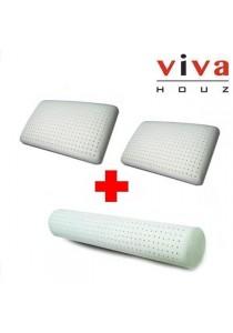 Viva Houz Combo 2: Rubber Foam Pillow Deluxe 2x + Rubber Foam Bolster 1x