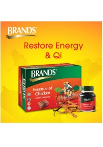 Brand's Essence of Chicken with Cordyceps 6x70gm (4 packs) + FREE 1 pack of Prune 6x42ml