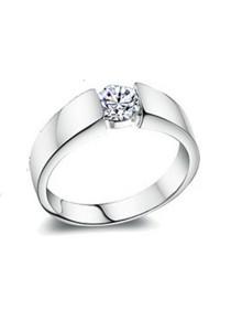 Vivere Rosse 18K Plated Male Ring (White Gold) CR0002