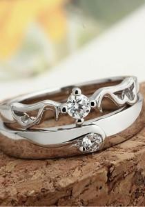 Vivere Rosse Faith 18K White Gold Plated Couple Ring (Female Ring) CR0013