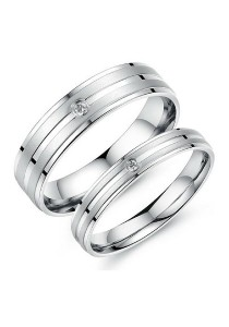 Vivere Rosse Rendezvous Stainless Steel Couple Ring (Silver) CR0028
